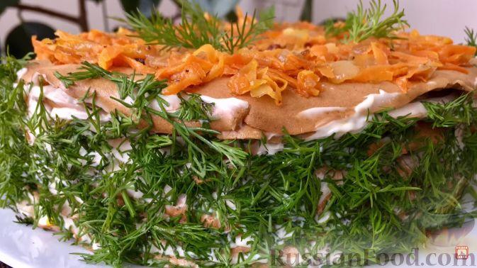 Печеночный торт рецепт с морковью и грибами