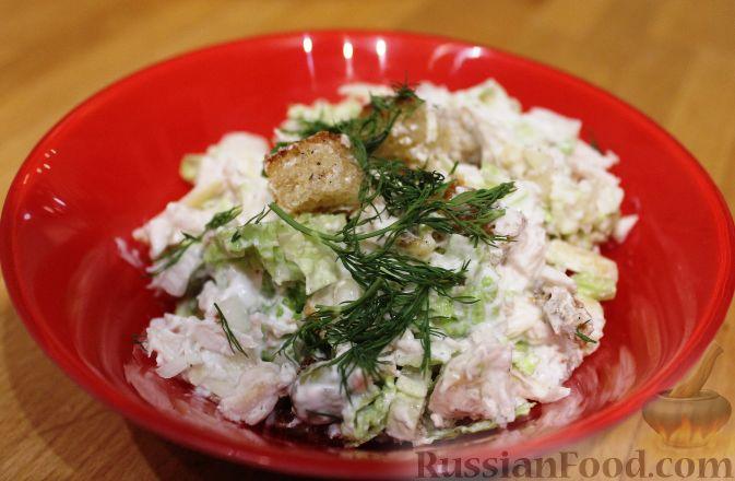 салат из пекинской капусты рецепт с сухариками фото рецепт