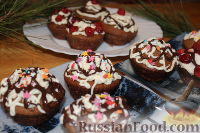Фото к рецепту: Шоколадные маффины с вишней и кремом