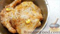 Фото приготовления рецепта: Курица, фаршированная яблоками, с лапшой и грибами - шаг №4