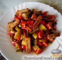 Фото к рецепту: Салат с фасолью, грибами и сухариками