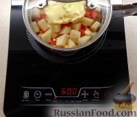 Фото приготовления рецепта: Тыквенный суп-пюре с беконом и сухариками - шаг №3