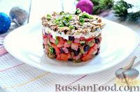 Фото к рецепту: Праздничный винегрет с оливками, сардинами и  майонезом