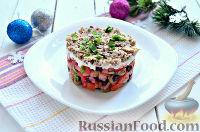 Фото приготовления рецепта: Праздничный винегрет с оливками, сардинами и  майонезом - шаг №9