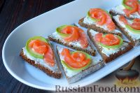 Фото к рецепту: Тартинки с копченым лососем и авокадо