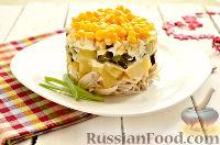 Фото к рецепту: Салат из курицы, с ананасами и кукурузой