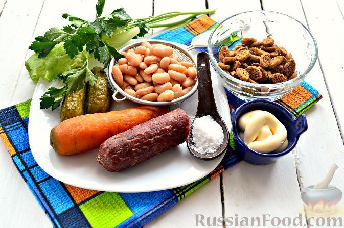 салат с сухариками рецепт с фото и колбасой