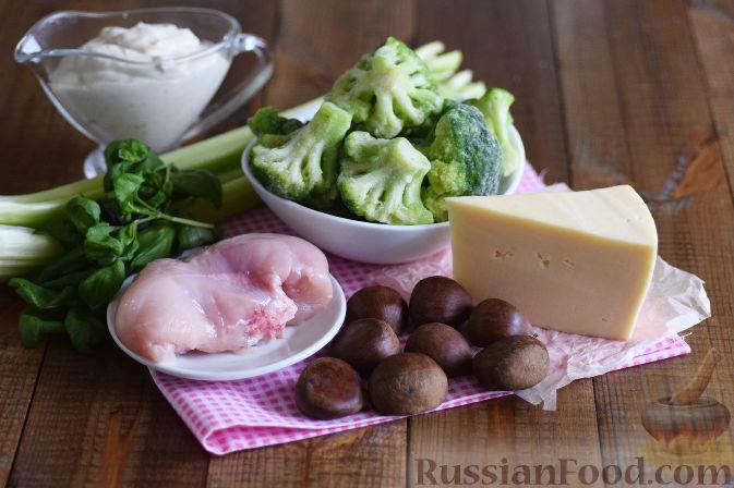 Фото приготовления рецепта: Салат с брокколи и каштанами - шаг №1
