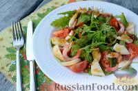 Фото к рецепту: Салат из морепродуктов, с помидорами и рукколой