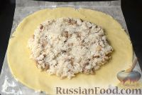 Фото приготовления рецепта: Пирог с мясом и рисом (а-ля курник) - шаг №11