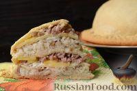 Фото приготовления рецепта: Пирог с мясом и рисом (а-ля курник) - шаг №18