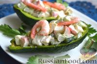 Фото к рецепту: Салат с авокадо, огурцом, сельдереем и крабовым мясом