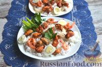 Фото к рецепту: Теплый салат из морепродуктов с рисом