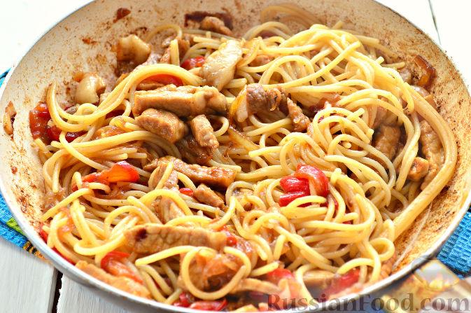 Рецепт макарон с мясом в сковороде пошагово