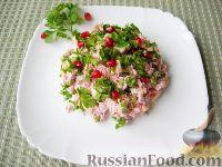 "Фото к рецепту: Салат ""Аура"" (с курицей и грибами, без майонеза)"