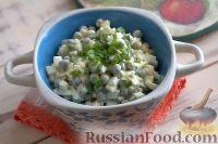 Фото к рецепту: Салат из яиц, с зеленым горошком