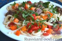Фото к рецепту: Макароны с мясом и овощами