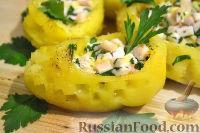 Фото к рецепту: Горячая закуска из картофеля, с ветчиной и сыром