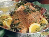Фото к рецепту: Запеченный лосось с укропом, под соусом из йогурта