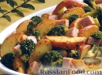 Фото к рецепту: Картофель с брокколи и ветчиной