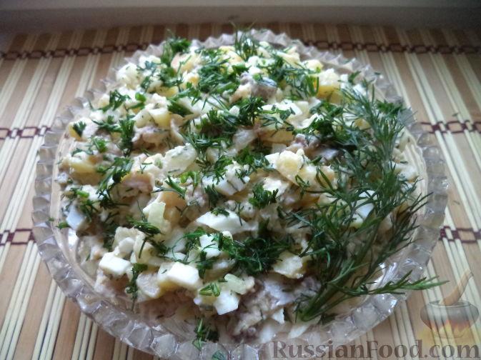 рецепт с салата с копченой рыбой и картофелем