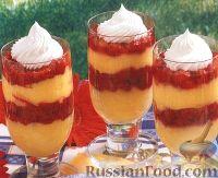 Фото к рецепту: Десерт из ванильного пудинга и малины