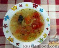 Фото к рецепту: Постные щи из свежей капусты, с солёными помидорами