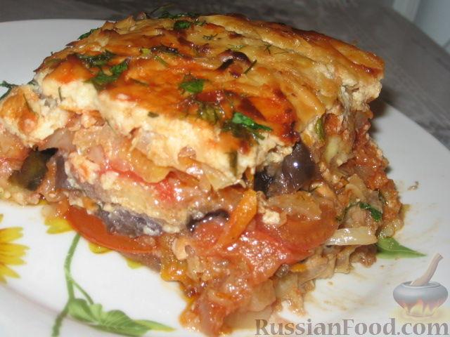 Рецепт Баклажанная запеканка с капустой и перцем