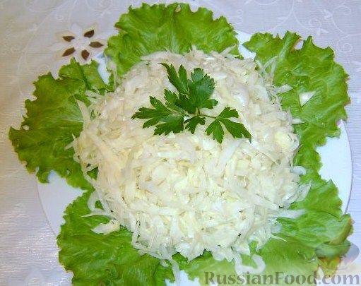 Рецепт Салат из свежей капусты с растительным маслом и уксусом