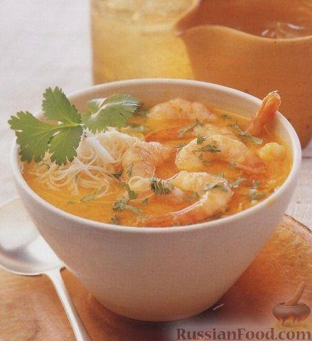 Рецепт Малайский суп с рисовой лапшой и креветками