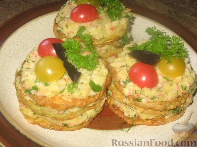 Рецепт Кабачковый мильфей с крабовым пюре