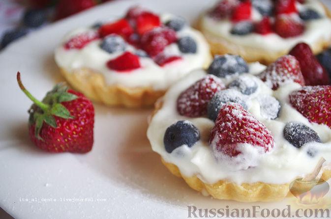 Рецепт Тарталетки с ягодами и с муссом из белого шоколада и мяты