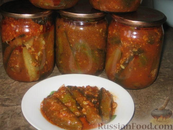 Рецепт Огурцы в остром томатном соусе