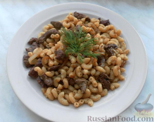 Рецепт Паста чиффери с говяжьей печенью и луком