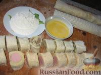 Фото приготовления рецепта: Ленивые пирожки из вафельных рулетов - шаг №3
