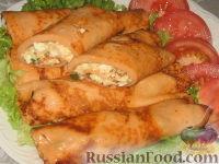 Фото к рецепту: Томатные блинчики с тунцом