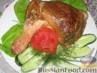 Фото к рецепту: Фаршированные куриные окорочка