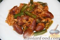 Фото к рецепту: Куриные сердечки с рисом и зеленой фасолью