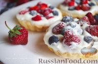 Фото к рецепту: Тарталетки с ягодами и с муссом из белого шоколада и мяты