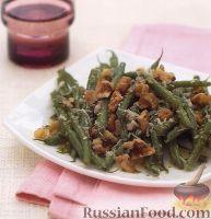 Фото к рецепту: Салат из стручковой фасоли с грецкими орехами