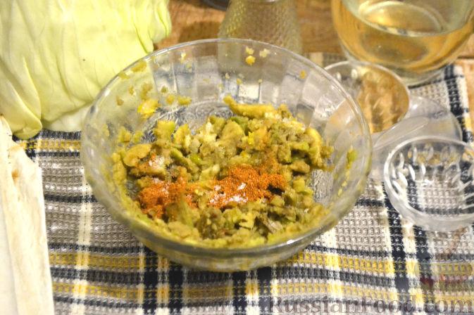 Фото приготовления рецепта: Рулет из лаваша с грибами и авокадо - шаг №6