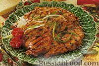 Фото к рецепту: Жареная курица под медовым соусом с имбирем и кунжутом