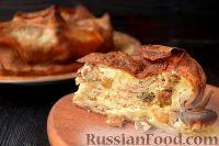 Фото к рецепту: Блинный пирог с изюмом