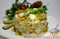 Фото к рецепту: Салат с кукурузой, рисом и копченой скумбрией