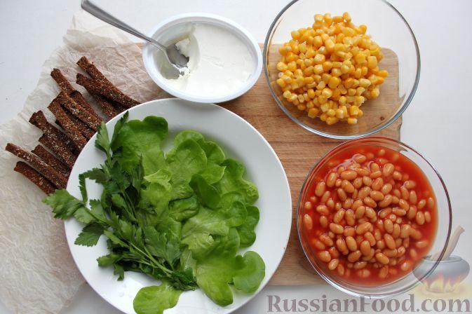 рецепт салата с сухариками и кукурузой фото
