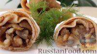 Фото к рецепту: Блины с мясом и грибами