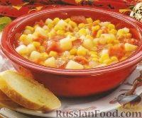Фото к рецепту: Томатная похлебка с кукурузой