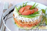 """Фото к рецепту: Слоеный салат """"Гости в домофоне"""""""