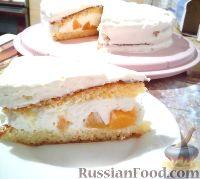 Фото к рецепту: Персиковый торт со сливочным кремом-суфле