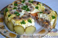 Фото к рецепту: Салат «Улёт» с печенью индейки и грибами